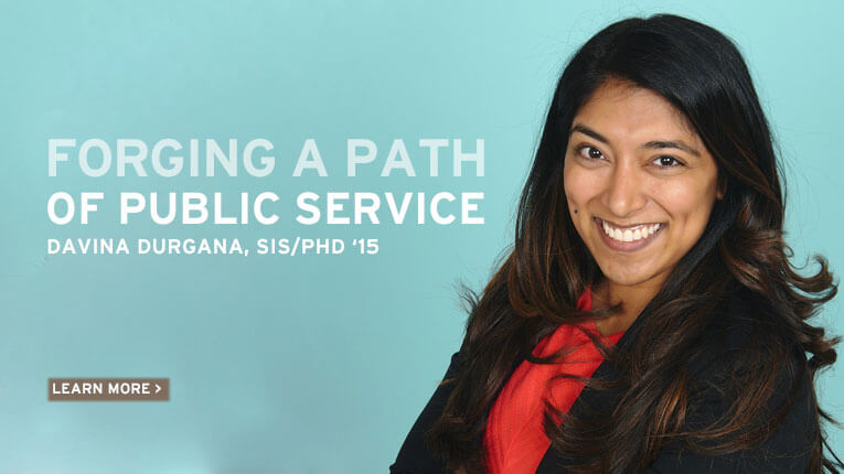 Forging a path of public service, Davina Durgana, School of International Service, PhD 2015