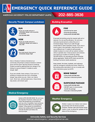 American University Emergency Quick Reference Guide