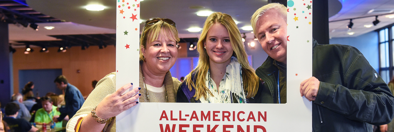 Family celebrates All-American Weekend in the Mary Graydon Center