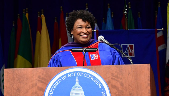 Stacey Abrams delivers the keynote address at SPA's commencement ceremony