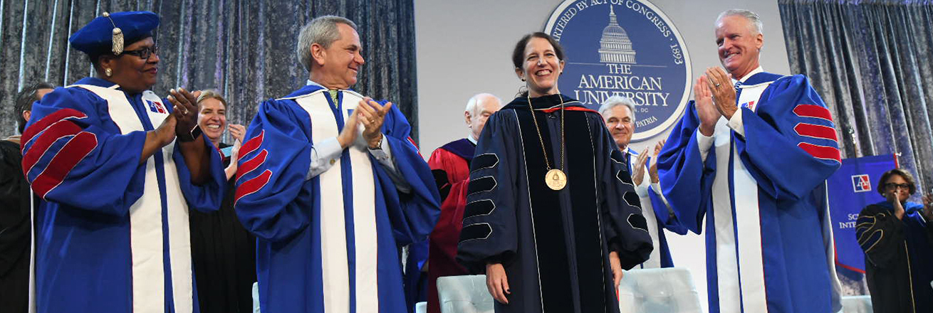 Sylvia Burwell is applauded at the end of the inauguration ceremony