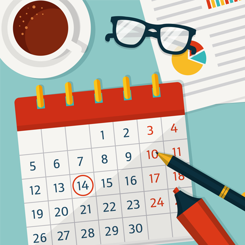An illustration of a calendar, with one of the days circled. There is a marker and a pen in the bottom right, a paper in the top right with a pie chart on it, and a cup of coffee in the top left
