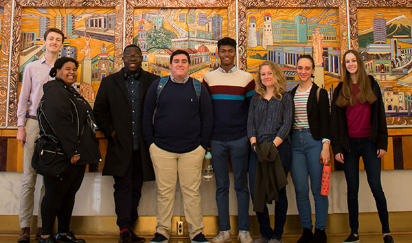 Students from the Gap Program pose at the Russian Embassy