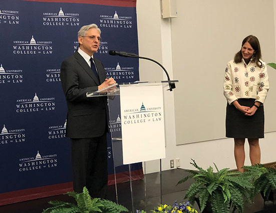 Merrick Garland speaks to Washington College of Law
