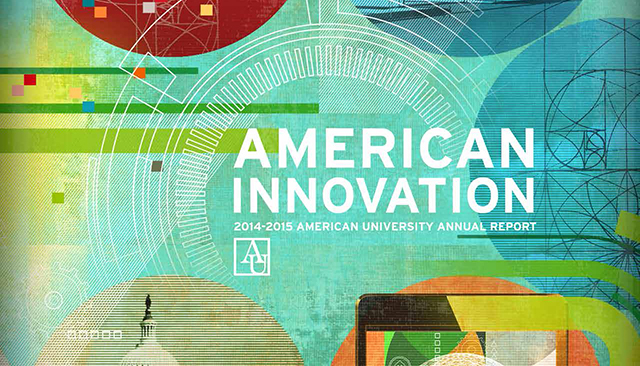 "Geometric designs and text saying ""American Innovation: 2014-2015 American University Annual Report"""