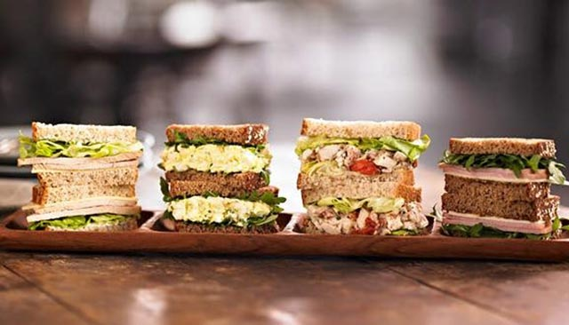 Sandwiches on display