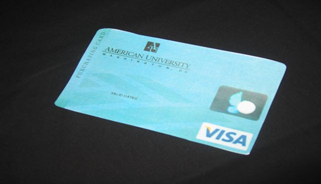 "VISA credit card with the words ""American University, Washington D.C."""