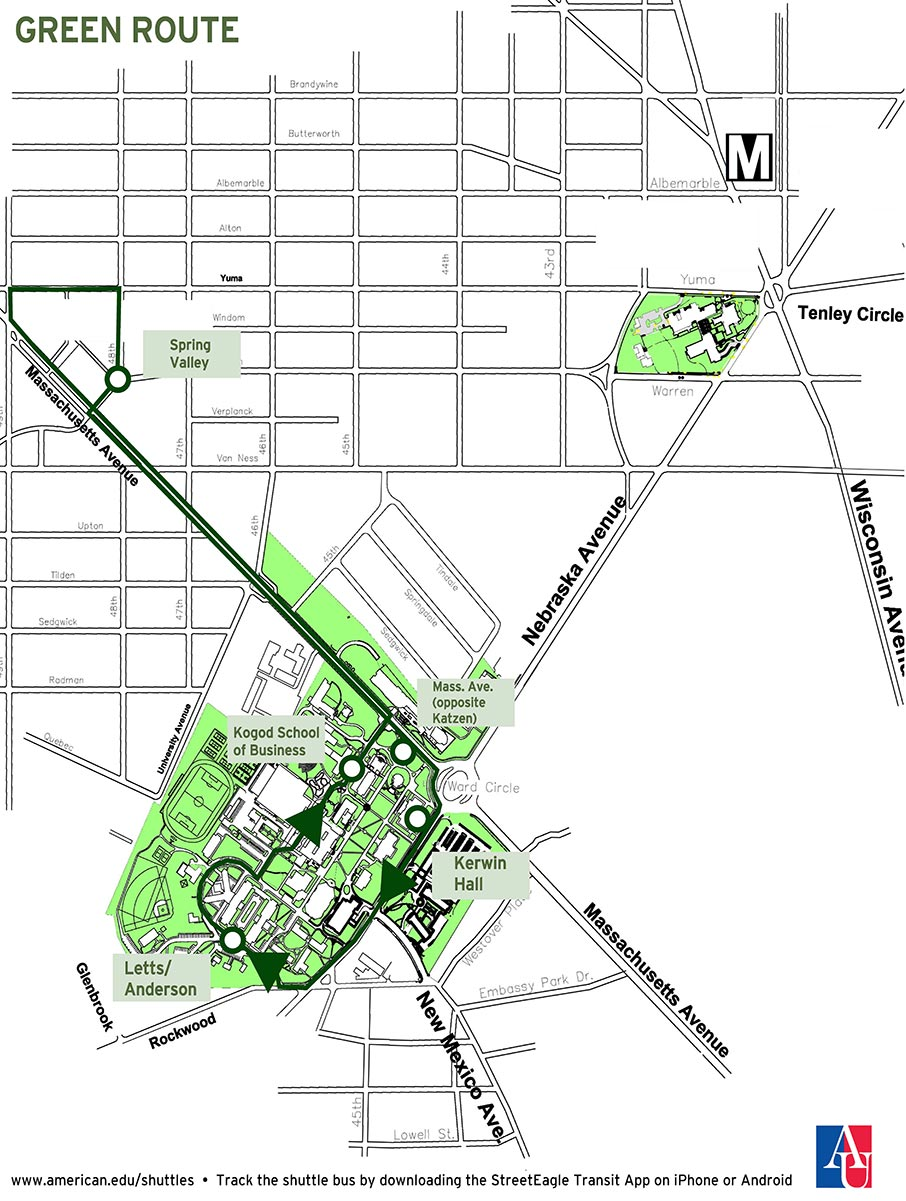 Georgetown Law Campus Map.Shuttle Services American University Washington Dc