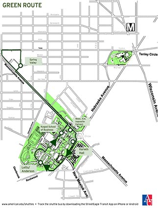 Map of campus showing the Green Route shuttle stops