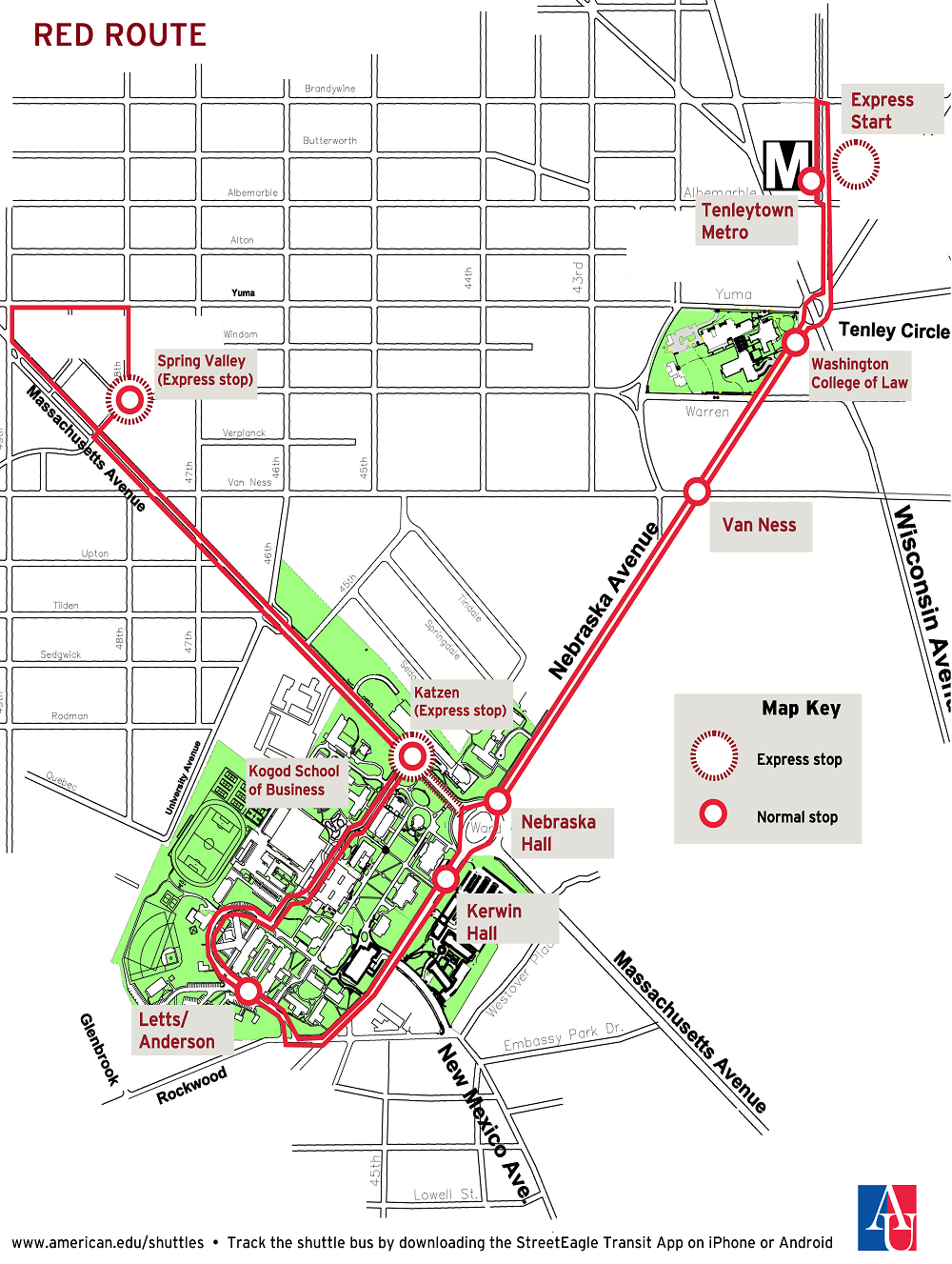 Map Of Red Route Shuttle