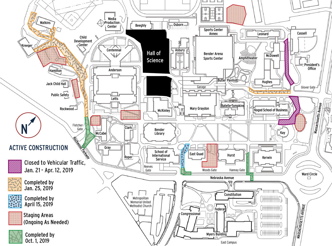 A map illustrating areas on campus where construction is taking place