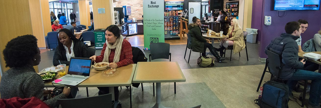 Students eating at the P.O.D. Market