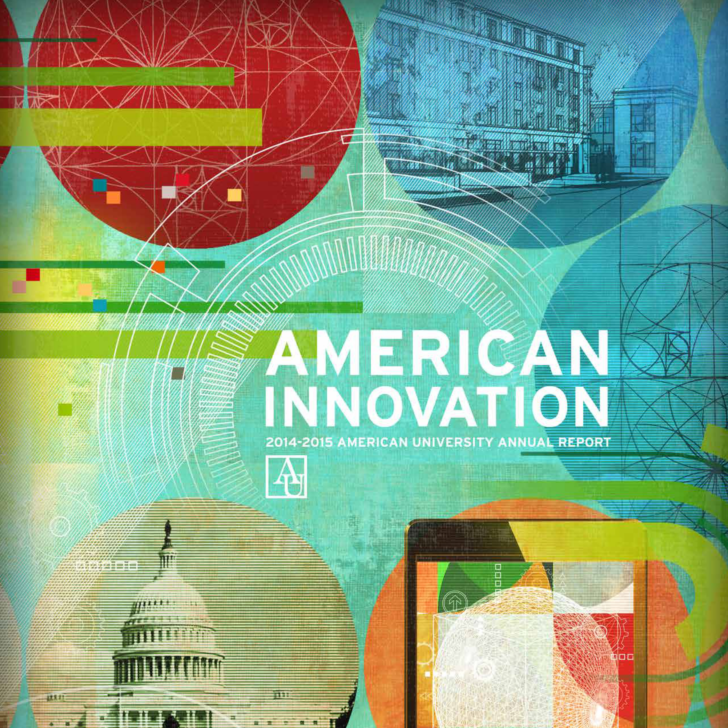 Multicolored cover of the American university 2015 annual report
