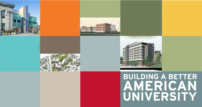 Multicolored graphic with text - Building a better American University