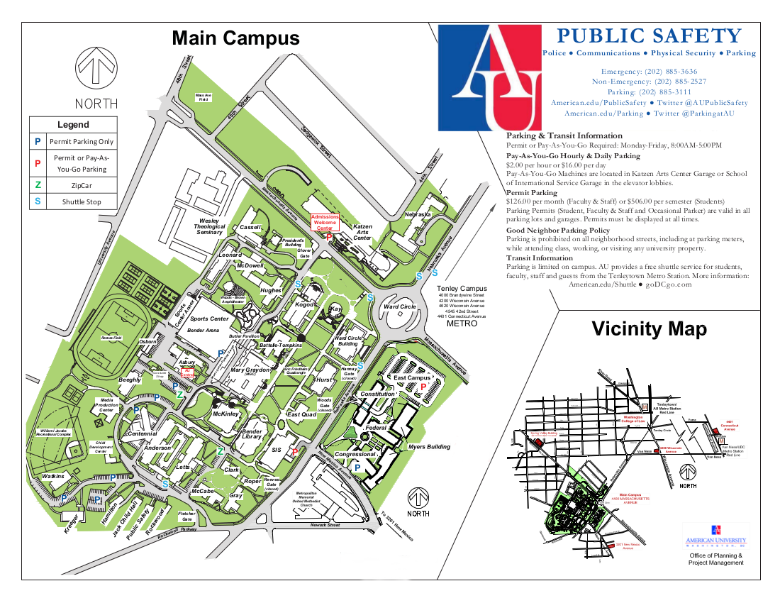 American University Map >> American University Guide To Services
