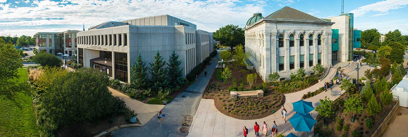 Panoramic view of SIS Building, Bender Library, and McKinley Building