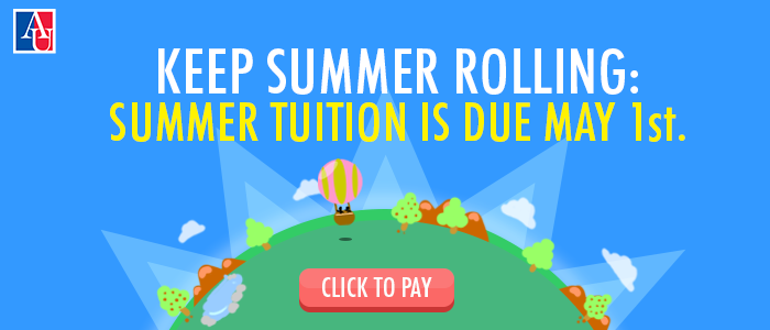 Summer Tuition is Due May 1st