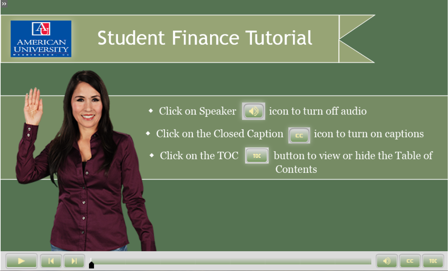 Image shows instructor waving, large banner reads Student Finance Tutorial
