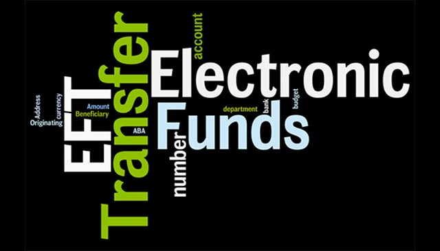 Word cloud showing words such as Electronic Funds Transfer, EFT, Account, etc.