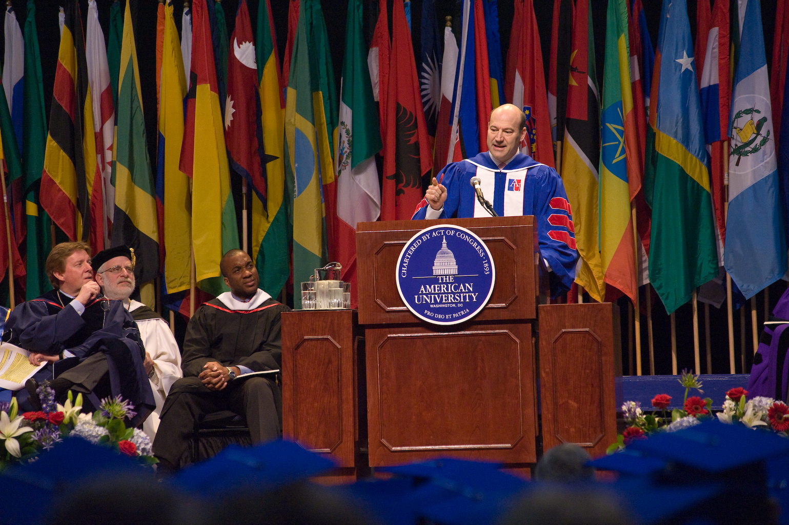 Cohn speaking at commencement
