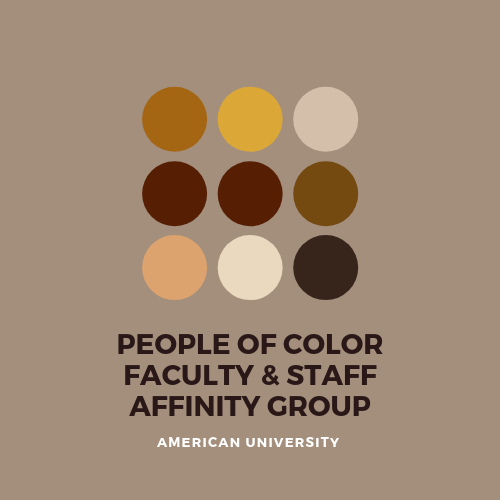 People of color affinity group logo, shades of brown dots