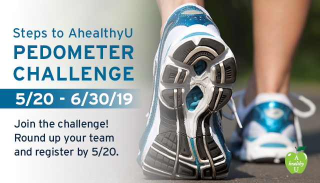 Steps to AhealthyU Pedometer Challenge 5/21/18 to 7/1/18