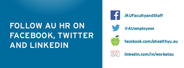 Follow American University Human Resources on Facebook, Twitter, and LinkedIn.