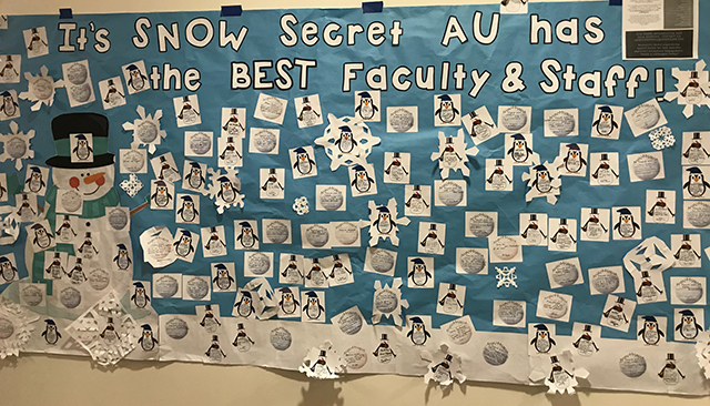 American University Staff shared thank you notes to their colleagues on this banner at the December 2017 Holiday Reception