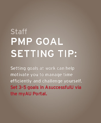 Set 3-5 goals for work on AsuccessfulU via the myAU portal