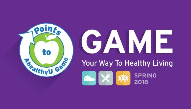 Game Your Way to Healthy Living, Fall 2017, Points to AhealthyU logo
