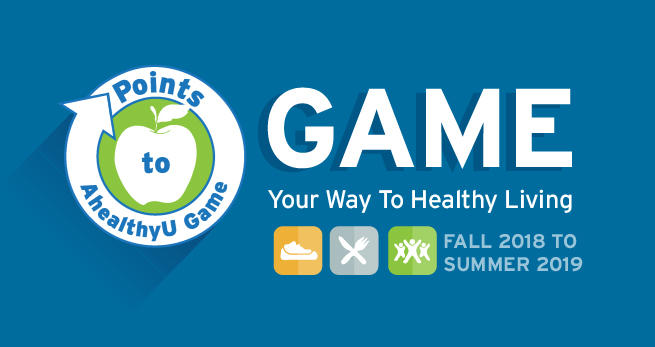 Points to AhealthyU game. Game your way to healthy living. Spring 2018.