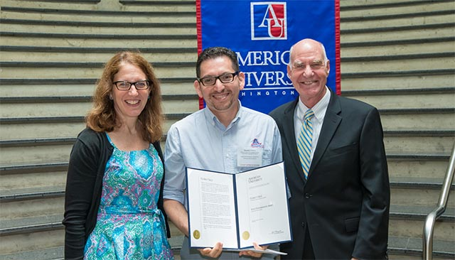 AU President Sylvia Burwell, Gorky Cruz, and Scott Bass