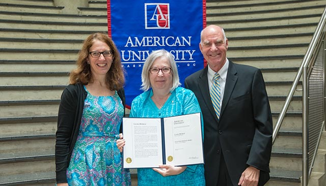 AU President Sylvia Burwell, Laura Murray, and Scott Bass