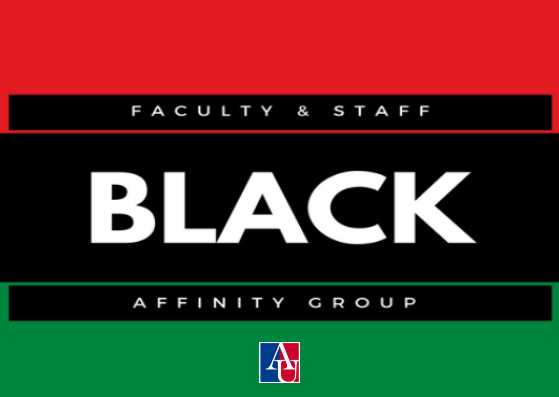 black green and red flag that says black faculty and staff affinity group