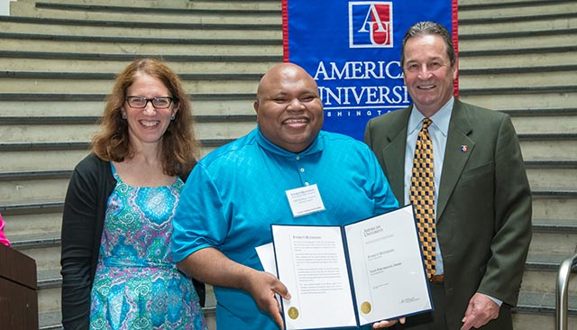 AU President Sylvia Burwell, Everett Buchanan, and Doug Kudravetz