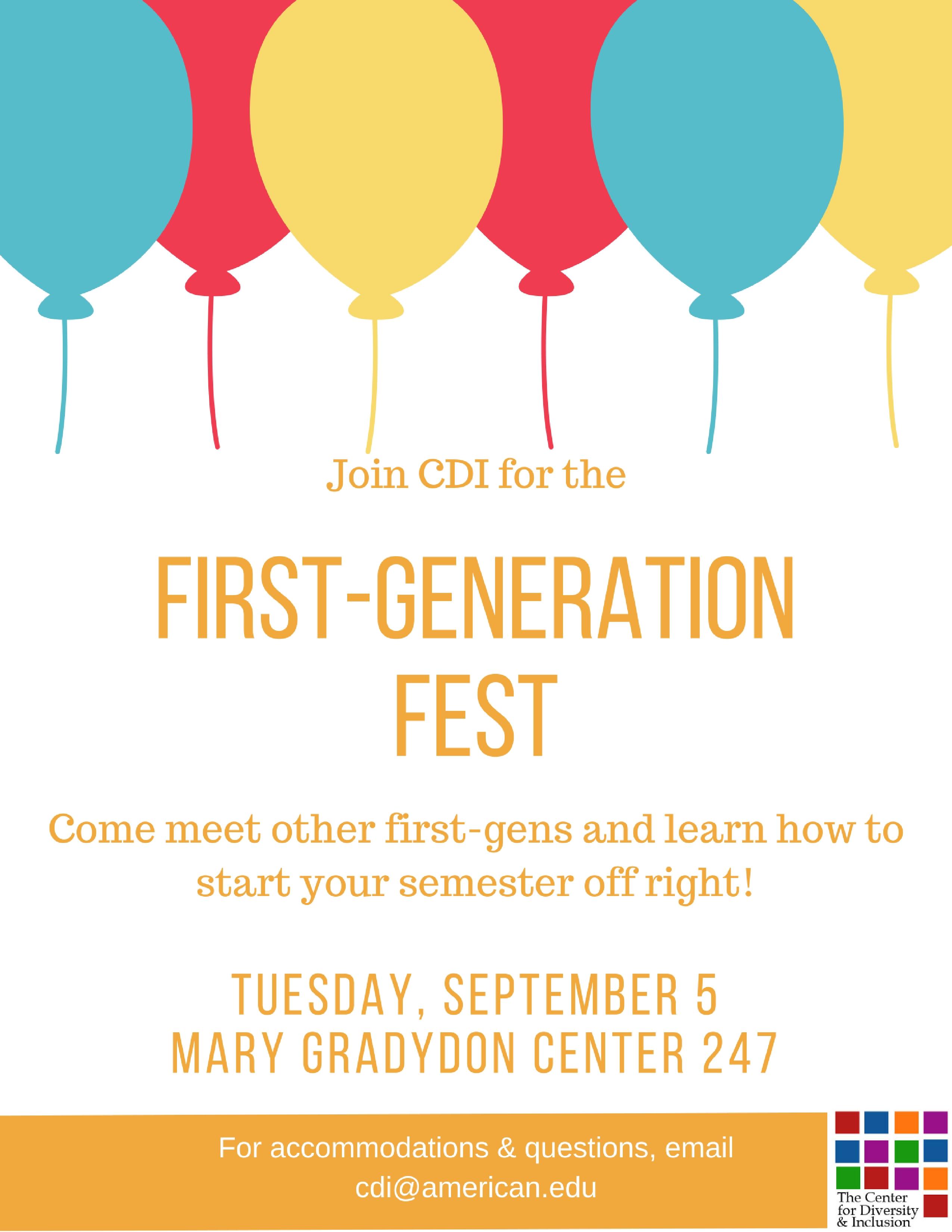 Text reads, Please join CDI for the First-Generation Fest, September 5, 5:30-7:00 p.m. MGC 247