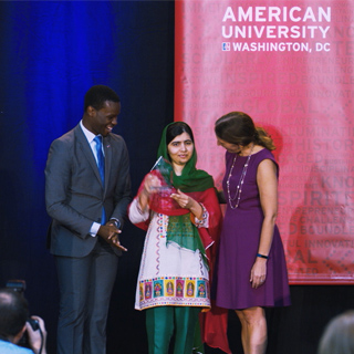 Malala Yousafzai accepts her 2017 Wonk of the Year award and discusses her advocacy for girls' education with President Sylvia M. Burwell.