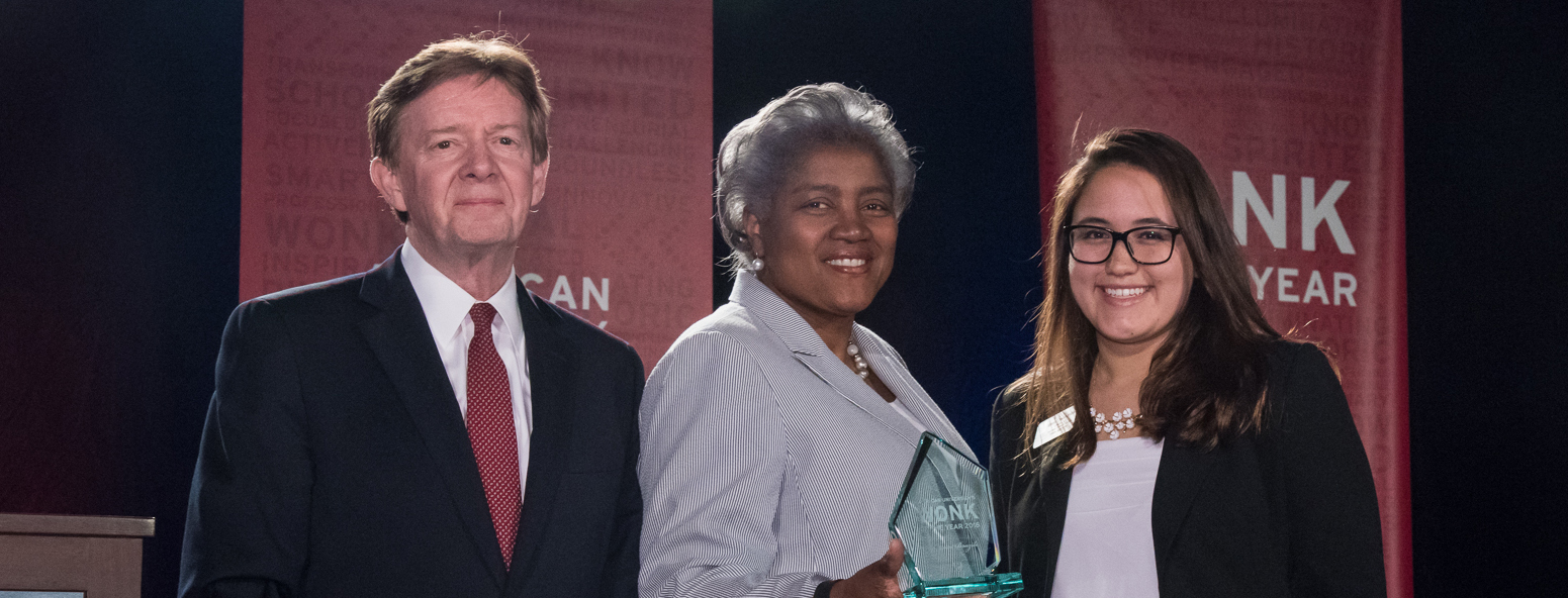 Valeria Ojeda, Donna Brazile, and President Kerwin on stage