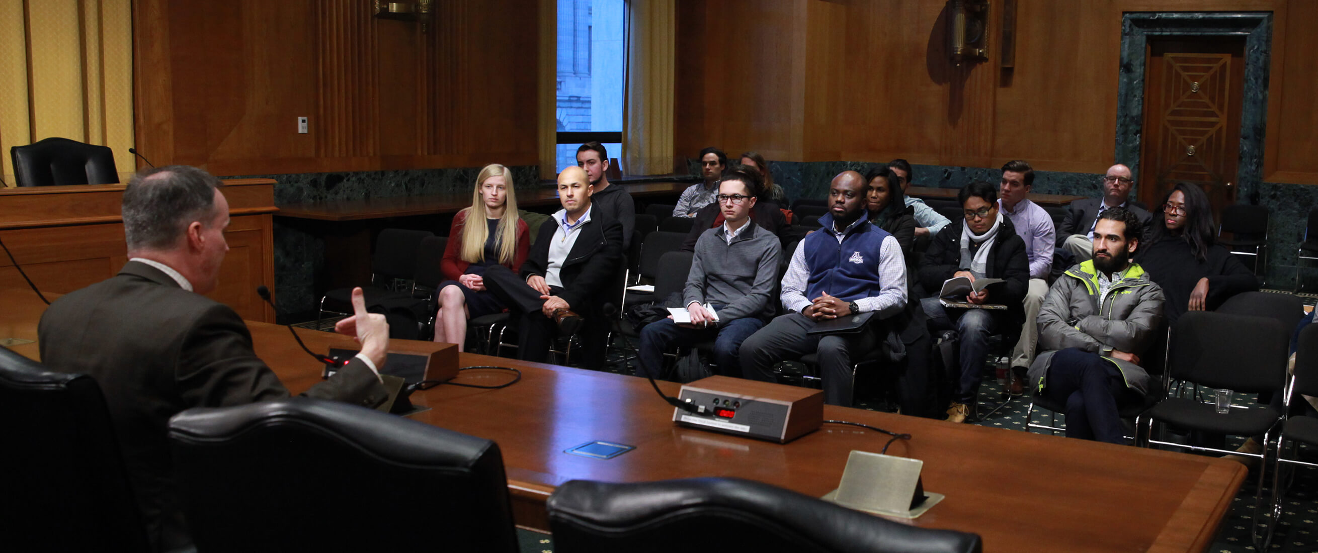 Graduate students visit senate finance committee downtown.
