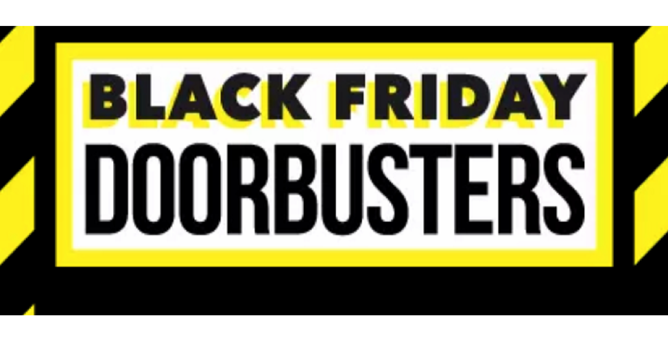 A sign that says 'Black Friday Door Busters'