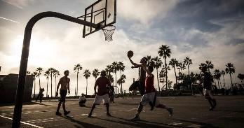 Stock photo of basketball court