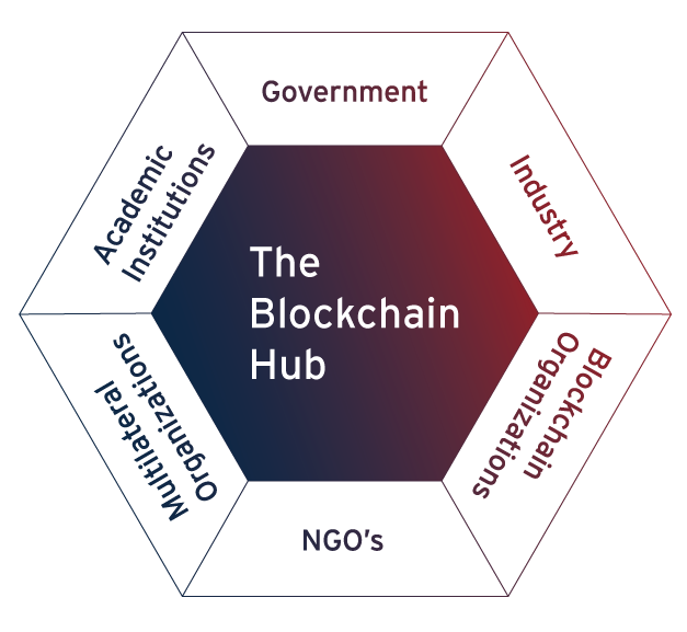 Kogod School of Business spoke chart displaying the different entities served by the school's blockchain hub: NGO's, Multilateral Organizations, Academic Institutions, Government, Industry, and Blockchain Organizations.