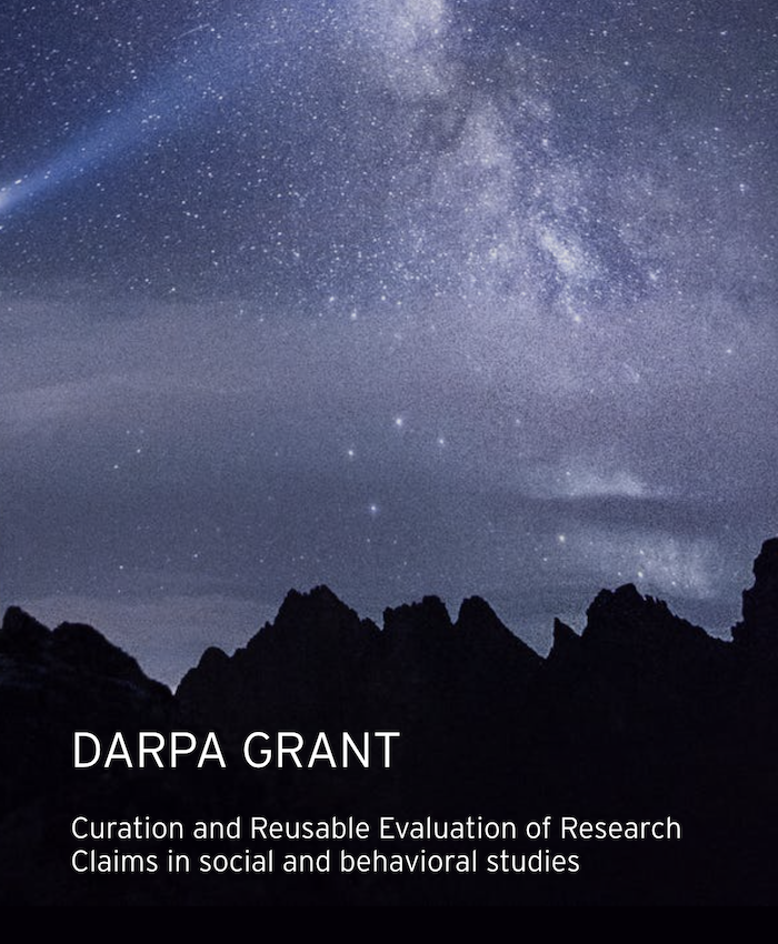 DARPA research grant: Curation and Reusable Evaluation of Research Claims in social and behavioral studies