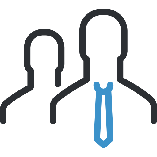 A black outline of silhouettes, the front silhouette with a blue outline of a tie.