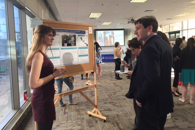 CBRS student presenting her Research Proposal at the Poster Showcase Event