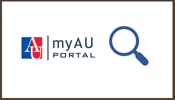myAU portal with magnifying glass