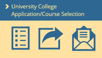 UC application, course selection; list of classes, arrow pointing to a letter in an envelope