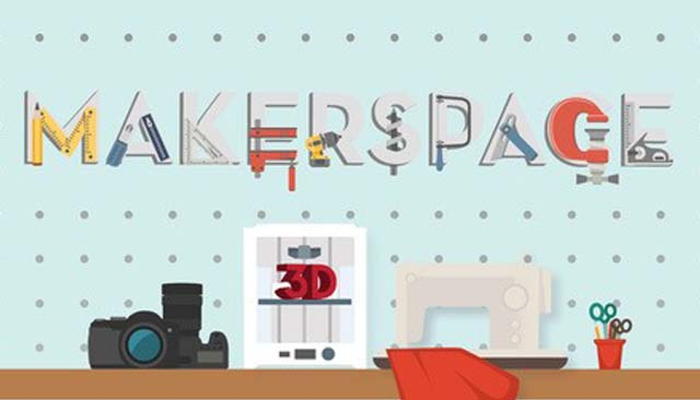 Makerspace text with various technology tools