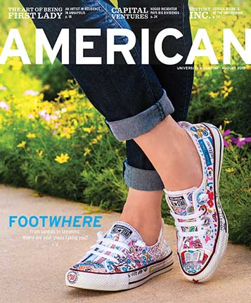 July 2015 cover of American magazine, featuring custom pair of AU Chuck Taylors