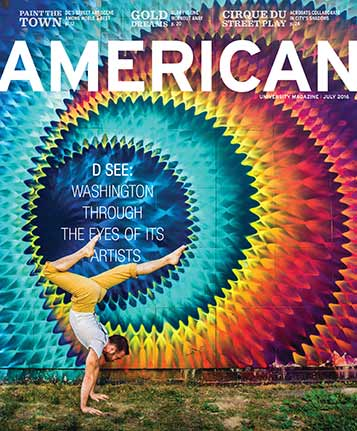 July 2016 cover of American magazine with a vibrant street mural